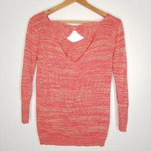 Tulle V Neck Cutout Heathered Coral Sweater